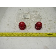 "Midget Beacon Alert Strobe Light Globe 2"" Base Red Thermoplastic Lot Of 2"