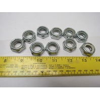 5/8-11 Nylon Lock Jam Hex Nut Zinc Lot of 10