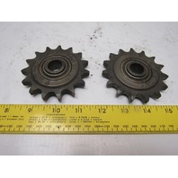 """Martin 50BB15H #50 Roller Chain Idler Sprocket 15T 5/8"""" Bore Lot Of 2"""