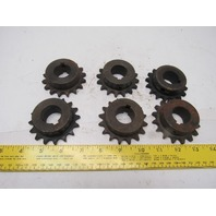 """#40 Single Strand Roller Chain Sprocket 1"""" Bore 16T Lot Of 6"""