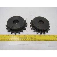 """#60 Single Row Roller Chain Sprocket 18T 3/16"""" Bore Lot Of 2"""