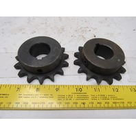 """#50 Single Row Roller Chain Sprocket 15T 1-1/8"""" Bore Lot Of 2"""