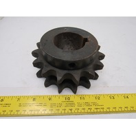 """80B15F2 #80 Double Row Roller Chain Sprocket 15T 2-1/8"""" Bore"""