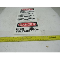 Accuform LELC028 Danger High Voltage Vinyl Adhesive Electrical Sign Lot Of 5