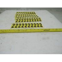 "Brady 3440-2 2"" x 1"" Black On Yellow Number 2 Marker Sticker Lot 16 Cards"