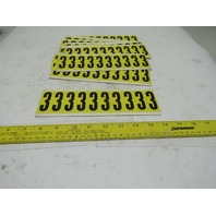 "Brady 3440-3 2"" x 1"" Black On Yellow Number 3 Marker Sticker Lot Of 14 Cards"