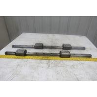 "THK HSR35HB 36-1/4"" Long Linear Rail W/2 Bearing Blocks Lot of 2"
