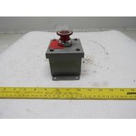 Square D 9001KM1 120V Illuminated Push Pull Emergency Stop Button Box Assembly