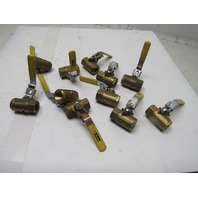 "Parker Fluid System Connector Brass Ball Valve Inline 1/2"" NPT Lot of 11"