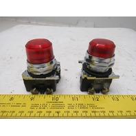 Cutler Hammer 10250T/91000T 120V Red Operator Pilot Indicator Light Lot Of 2