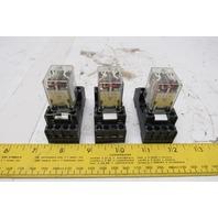 Allen Bradley 700-HC14Z24-1-4 1/10Hp 24VDC Coil 120V Relay W/ Socket Lot Of 3