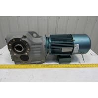 Sew Eurodrive KA77DRE100LC4BE5HRTH 13.52:1 Ratio 124RPM 5Hp 230/460V Gear Motor