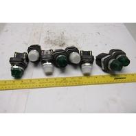 Allen Bradley 800T-P16 120V Pilot Light Lot 4 Green 4 White Lot Of 8