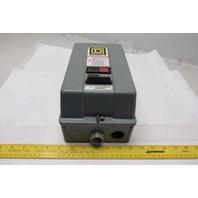 Square D 8502/8536 SB 600V 5HP Max Size 0 Manual Magnetic Starter W/ Overload