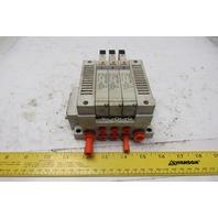 SMC VQ2100-3 5/2 Position Sigle Solenoid Operated Valve Bank Manifold 120V