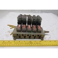 Numatics 031SA4152000030 2/4 Way Solenoid Operated Valve Bank Manifold 110V
