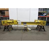 "3 Ton 13'4"" Power Bridge Crane Bottom Runner W/Coffman  & Power Trolley"