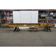 5 Ton 22' Bridge Crane W/Coffing Hoist Wire Rope & 2 Speed Power Trolley 25'Lift