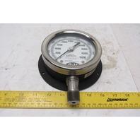 "D U 4""  Pressure Gauge 1/2"" NPT 0-5000PSI 0-34500 Kilopascals"