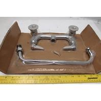 "TS B-0231 Brass Wall Mount Kitchen Mop Sink Commercial Faucet 12"" Swivel Neck"