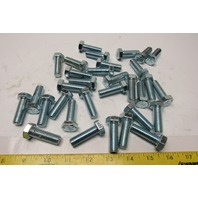 "1/2-13 x 1-1/2"" Zinc Hex Head Full Thread Bolts Lot Of 32"