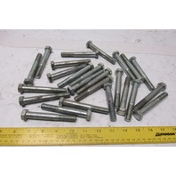 "1/2-13 x 3-3/4"" Zinc Head Bolts Lot Of 24"