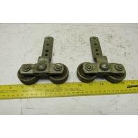 """Heavy 2"""" Industrial Roller Crane Hoist Trolley Barn Door Hardware Lot Of 2"""