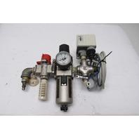 """SMC VHS30-03 & AW30-03BG Pneumatic Air Filter Regulator Assembly 3/8"""" NPT"""