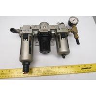SMC NAR3000 Pneumatic Pressure Regulator Assembly NAF3000-N02D NAL3000-N02-3