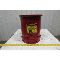 Justrite 09500 OWC W/Foot Red - 14 gallon Oily Waste Can