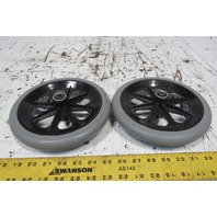 """8"""" Nonmarking Rubber Caster Plastic Hub 7/16"""" Bearing Bore Lot Of 2"""