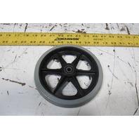 "6"" Nonmarking Rubber Caster Plastic Hub 8mm Bearing Bore"