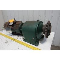 Master 210TM5AI38.4A1 38.4:1 Ratio 5Hp 3Ph 460V Electric Gear Motor W/Brake