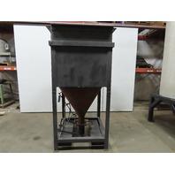 "38"" x 38"" Open Top Dry Bulk Material Feed Hopper 6"" Chute W/ Manual Gate 93""Tall"