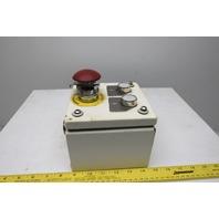 "Rees 50703NO-NC Mushroom Head E-Stop W/6""x6""x4"" Enclosure & 2 Push Buttons"