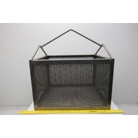 "17"" x 14"" x 12"" Tall Perforated Stainless Steel Dip Wash Parts Cleaning Basket"