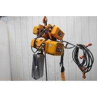 Harrington 1Ton 0-20 FPM Power Trolley Chain Hoist 10' Lift 2.5/14 FPM 460V 3Ph