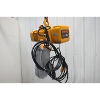 """Harrington NER010L 1 Ton Electric Chain Hoist 18'6"""" Lift 1'FPM 480V 3Ph"""