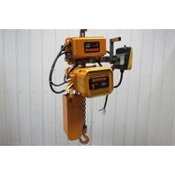 Harrington 1 Ton Remote Control Chain Hoist 10' Lift 2.5/14 FPM W/Power Trolley