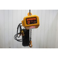 Harrington NER020S 2 Ton Electric Chain Hoist 208-220/440V 3Ph 17' Lift 28FPM