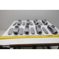 """Neer TC-75 3/4"""" Conduit Body 3 Way With Non Gasketed Covers Lot Of 8"""