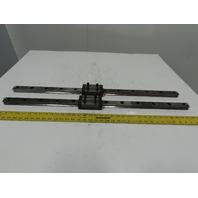 "Single Horizontal Side Load Linear Rails  W/Bearing Block 36-1/4"" Lot of 2"