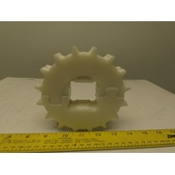 "5-1/8"" OD x 1-1/8"" Wide 2 Row 16T Conveyor Chain Sprocket 1-9/16"" Square Bore"
