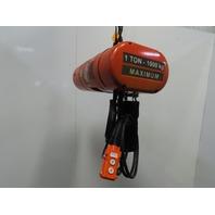 CM Lodestar Model EL 1Ton Electric Chain Hoist 20' Lift 16FPM 208-230/460 3Ph