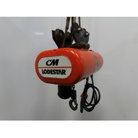CM Lodestar Model L 1 Ton Electric Chain Hoist 10' Lift 16FPM W/Push Trolley