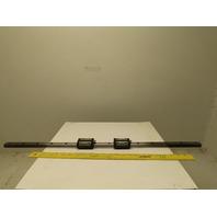 """THK SSR20 YA3829 20 mm Linear Guide Rail W/ 2 Bearings 32-1/4"""" OAL"""