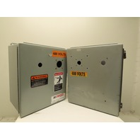 """Hoffman A14128-CH 14""""x12""""x8"""" Electrical Enclosure W/Back Plate Lot of 2"""