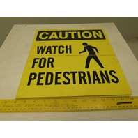 Double Sided CAUTION WATCH FOR PEDESTRIANS Sign Lot Of 4