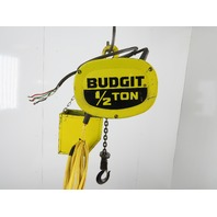 "Budgit BEH5016 1/2 Ton Electric Chain Hoist 15'6"" Travel 3 Phase"