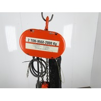 "CM Lodestar Model R 2 Ton 4000LB Electric Chain Hoist 19'6"" Lift 3PH Tested"
